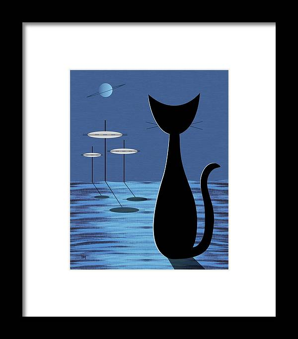Mid Century Modern Framed Print featuring the digital art Space Cat In Blue by Donna Mibus