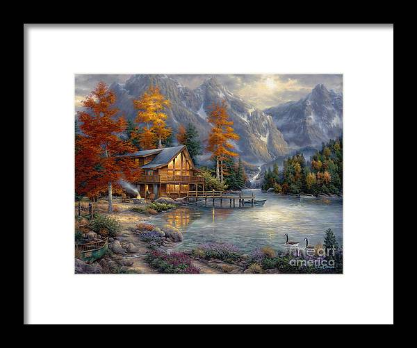 Mountain Cabin Framed Print featuring the painting Space for Reflection by Chuck Pinson