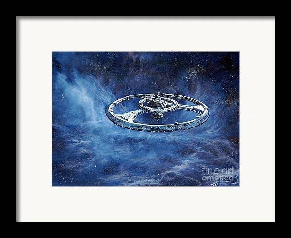 Sci-fi Framed Print featuring the painting Deep Space Eight Station Of The Future by Murphy Elliott