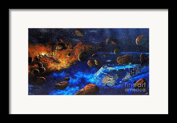 Future Framed Print featuring the painting Spaceship Titanic by Murphy Elliott