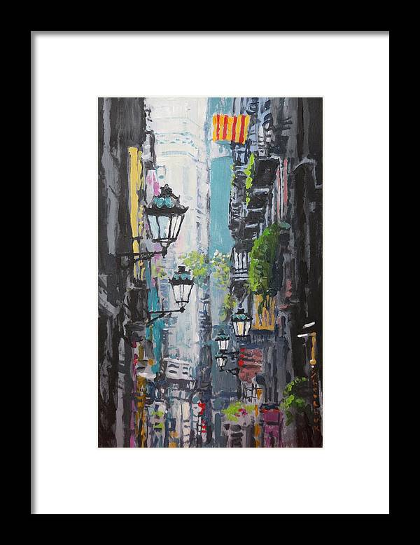 Acrilic Framed Print featuring the painting Spain Series 03 Barcelona by Yuriy Shevchuk
