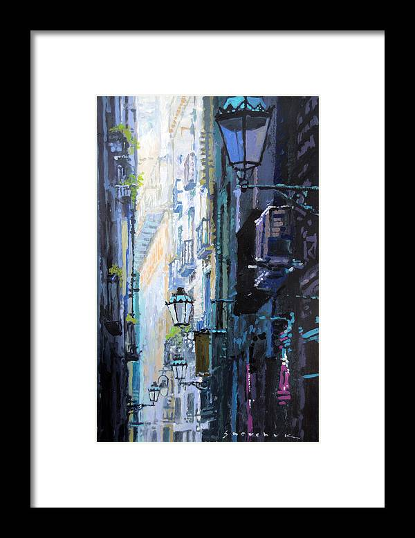 Acrilic Framed Print featuring the painting Spain Series 06 Barcelona by Yuriy Shevchuk