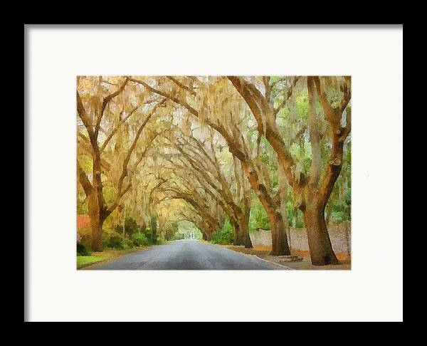Spanish Framed Print featuring the painting Spanish Moss - Symbol Of The South by Christine Till