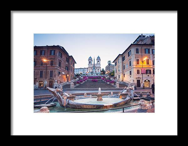Cityscape Framed Print featuring the photograph Spanish Steps Famous Stairway Rome Italy by Matteo Colombo
