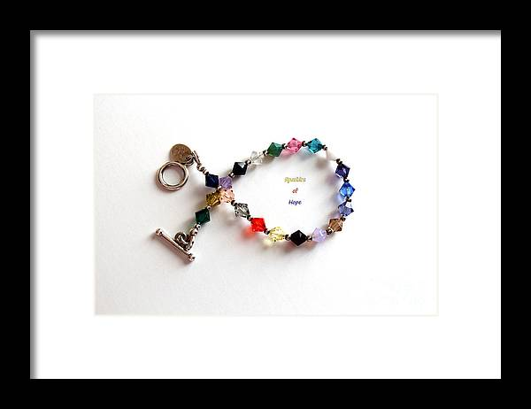Sparkles Of Hope Framed Print featuring the photograph Sparkles of Hope Cancer Bracelet by Barbara Griffin