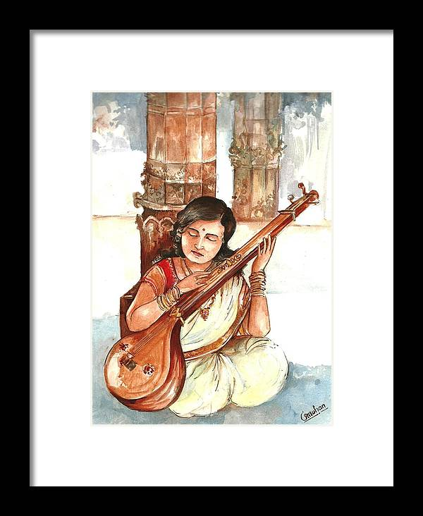 Framed Print featuring the painting Sparsha by Mohan Kumar