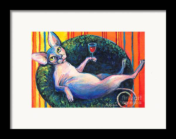 Sphynx Cat Framed Print featuring the painting Sphynx Cat Relaxing by Svetlana Novikova