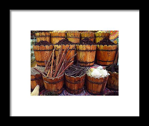Spices In The Egyptian Market. Framed Print featuring the photograph Spices In The Egyptian Market by Irina Effa