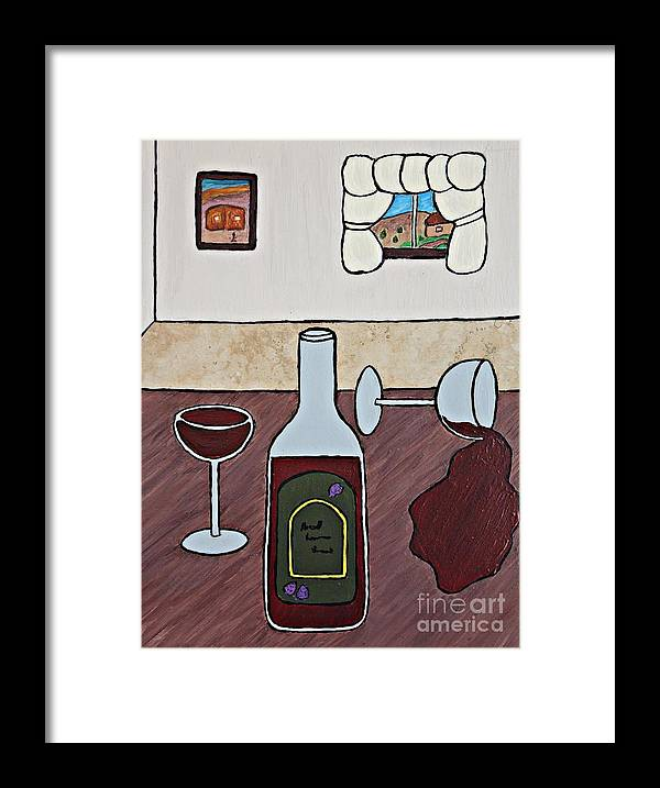Folk Art Framed Print featuring the painting Essence Of Home - Spilt Glass Of Wine by Sheryl Young