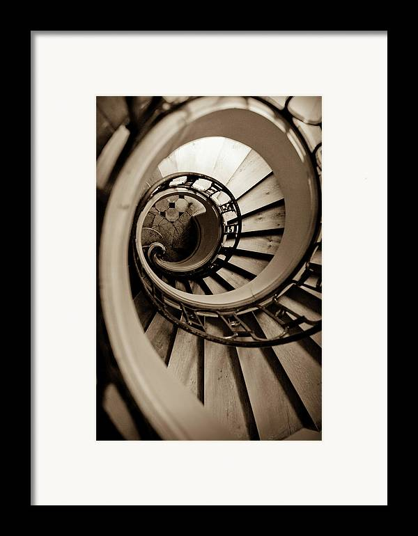 B&w Framed Print featuring the photograph Spiral Staircase by Sebastian Musial