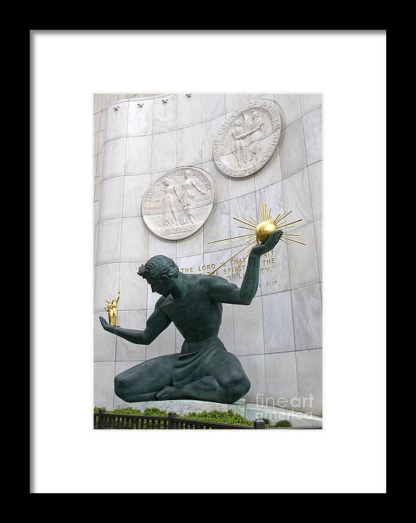 Detroit Framed Print featuring the photograph Spirit Of Detroit Monument by Ann Horn
