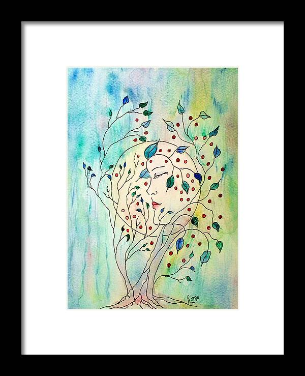 Watercolor Painting Framed Print featuring the painting Spirit Of The Forest by Robin Monroe