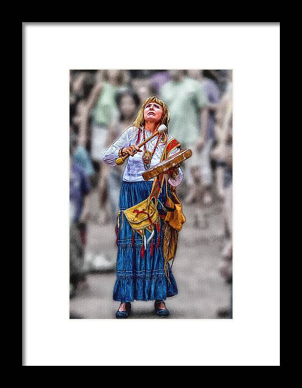 Drums Framed Print featuring the painting Spiritual Drums by John Haldane