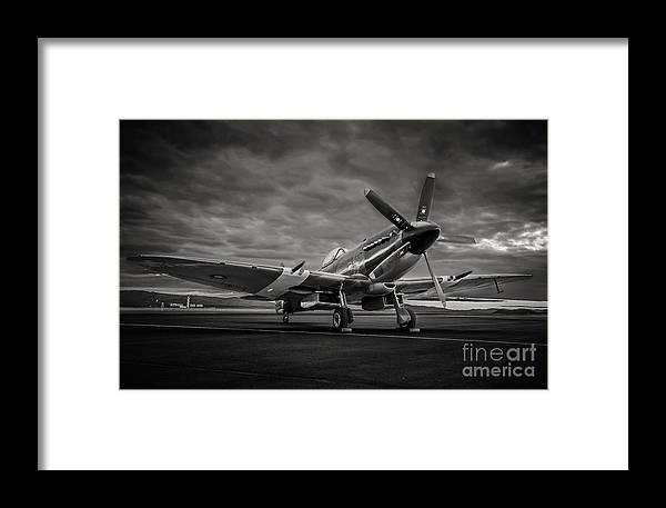 Reno Air Races Framed Print featuring the photograph Spitfire In Black And White by Steve Rowland