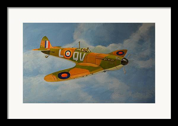 Aviation Art Framed Print featuring the painting Spitfire Mk1a by Murray McLeod