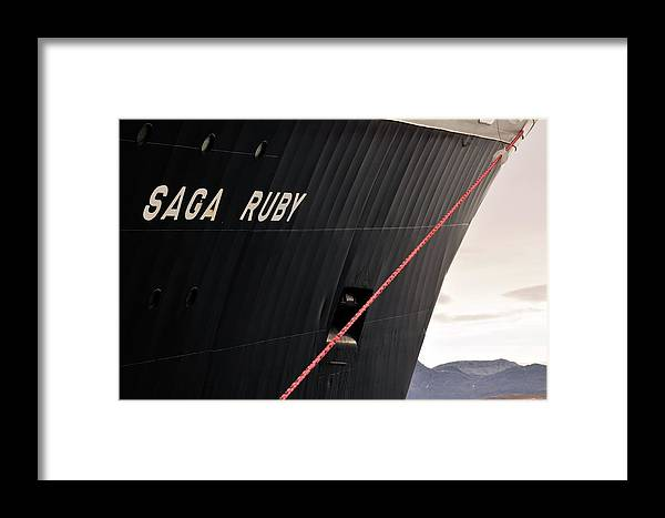Saga Ruby Framed Print featuring the photograph Spitsbergen Cruise Ship by Anthony Cooper/science Photo Library