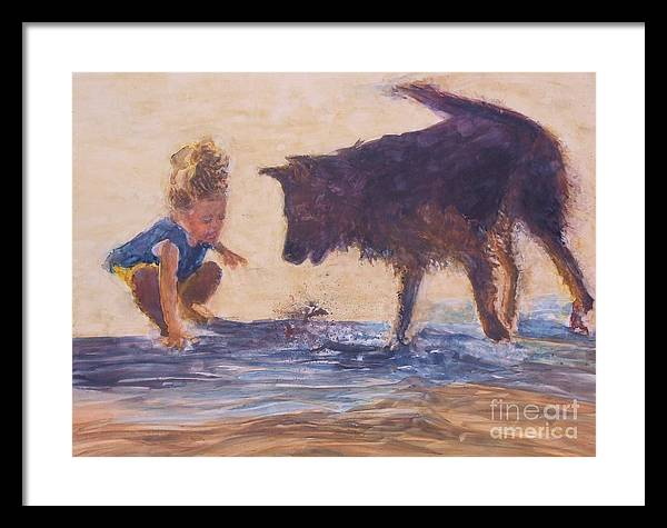 German Shepherd Framed Print featuring the painting Splash by Patrice Murphy