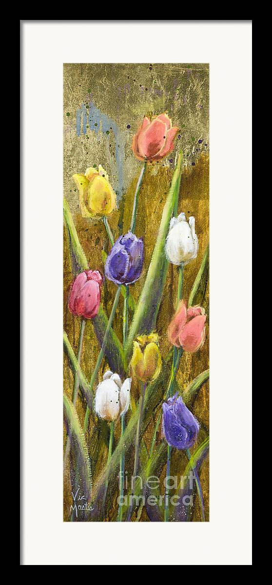 Splash Framed Print featuring the painting Splashy Tulips II With Gold Leaf By Vic Mastis by Vic Mastis