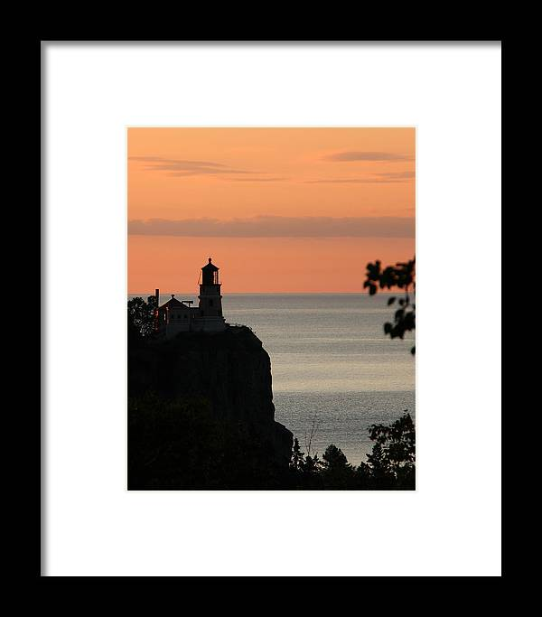 Light Framed Print featuring the photograph Split Rock Lighthouse At Sunrise by George Jones