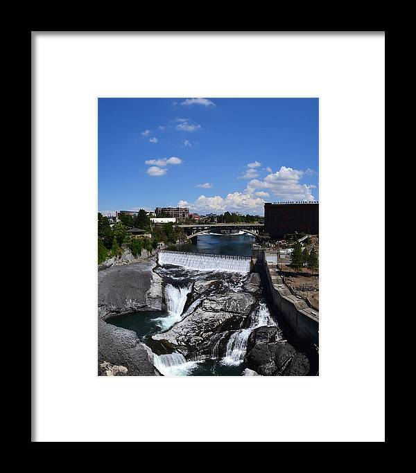 Spokane River Framed Print featuring the photograph Spokane Falls And Riverfront by Michelle Calkins
