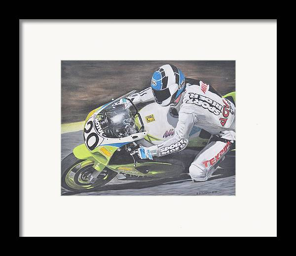 Motorcycle Framed Print featuring the painting Sport Rider by Denis Gloudeman