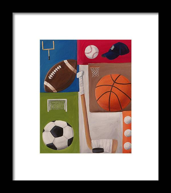 Baseball Framed Print featuring the painting Sports Collage by Tracie Davis