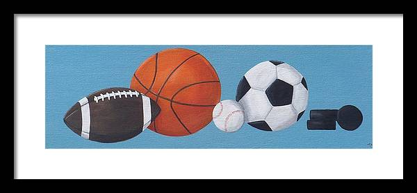 Sports Framed Print featuring the painting Sports Line Up by Tracie Davis