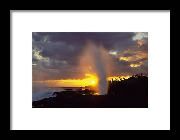 Spouting Horn Framed Print featuring the photograph Spouting Horn At Sunset by Morris McClung