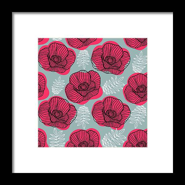 Flowerbed Framed Print featuring the digital art Spring Bright Seamless Floral Pattern by Ekaterina Bedoeva