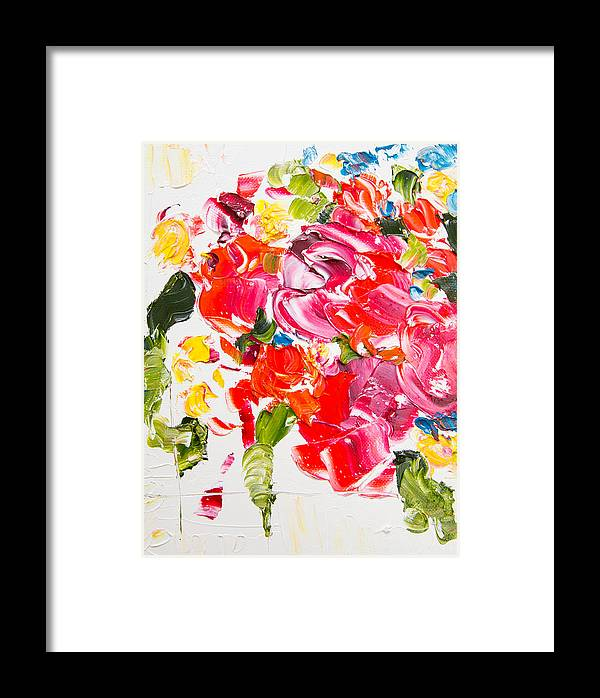Floral Abstract Painting Framed Print featuring the painting Spring Burst by Megan Carty