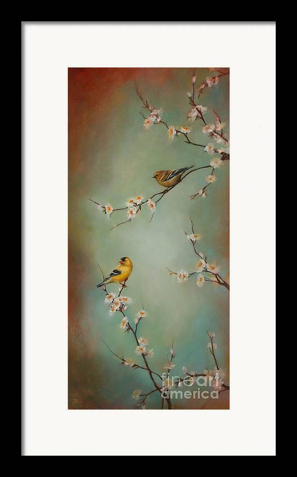 Songbird Framed Print featuring the painting Spring Dream by Lori McNee