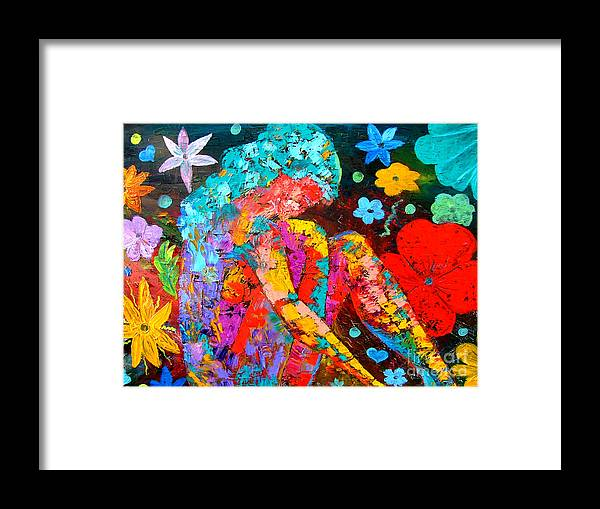 Girl Framed Print featuring the painting Spring Fantasy by Inna Montano