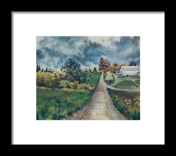 Oil Painting Framed Print featuring the painting Spring Farm by Joy Nichols