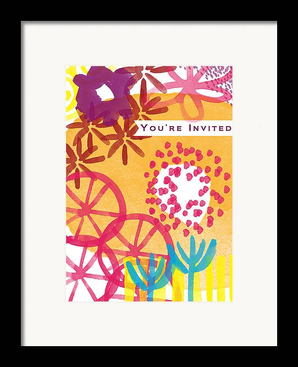 Party Invitation Framed Print featuring the painting Spring Floral Invitation- Greeting Card by Linda Woods
