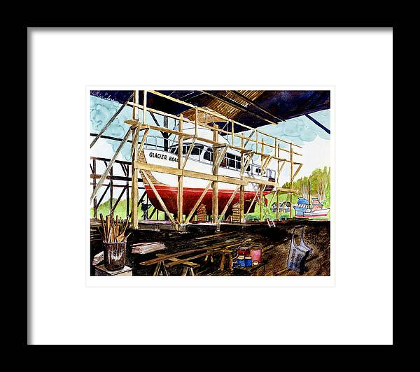 Marinas Framed Print featuring the painting Yacht Glacier Bear Hauled Out In Gig Harbor by Jack Pumphrey