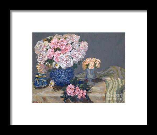Still Life Arrangements Framed Print featuring the painting Spring In A Blue Vase by Monica Caballero