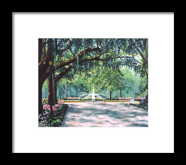 Savannah Framed Print featuring the painting Spring In Forsythe Park by Stanton Allaben