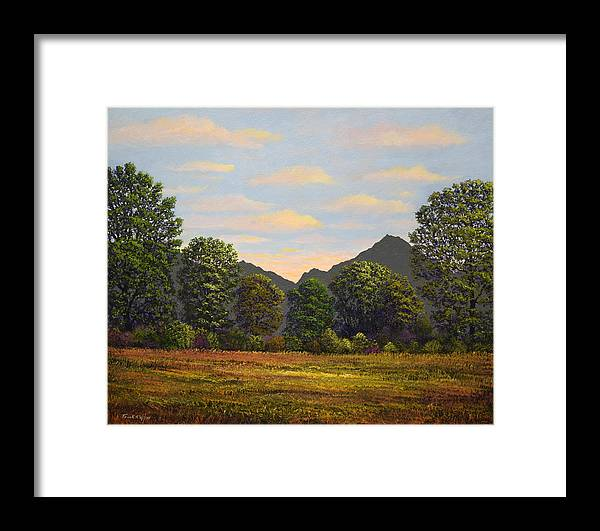 Spring Meadow At Sutter Buttes Framed Print featuring the painting Spring Meadow At Sutter Buttes by Frank Wilson