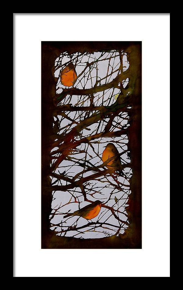 Birds Framed Print featuring the tapestry - textile Spring Robins Gather by Carolyn Doe