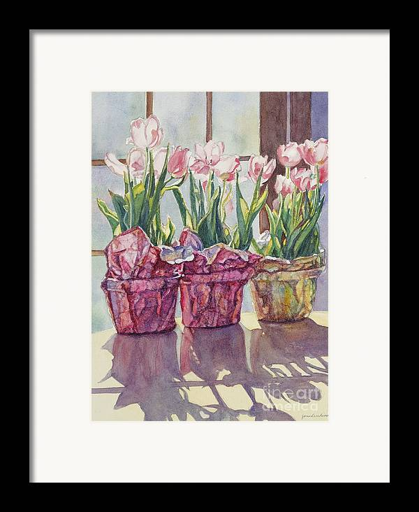Tulips In Pots Framed Print featuring the painting Spring Shadows by Jan Landini
