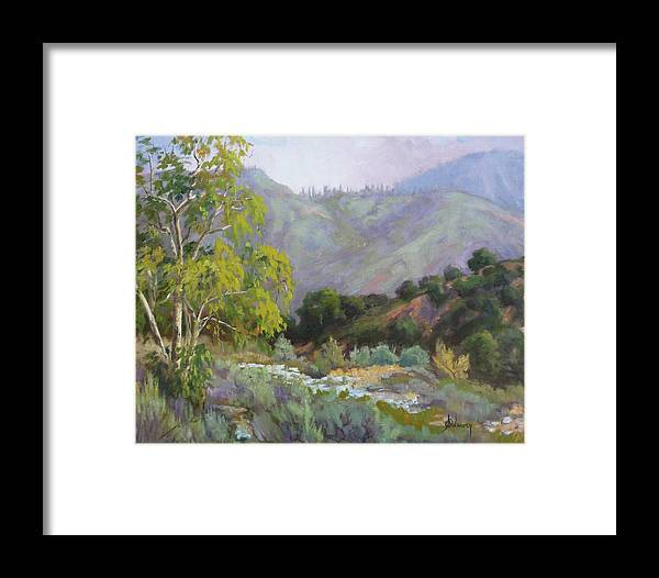 Landscape Framed Print featuring the painting Spring Sycamore by Sharon Weaver