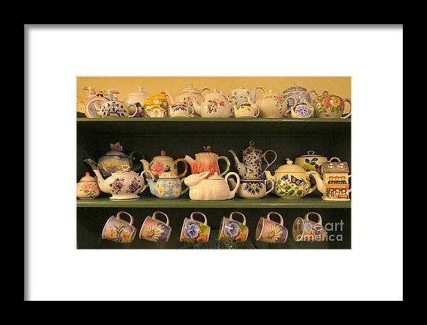Teapots Framed Print featuring the photograph Spring Teapots by Nancy Patterson