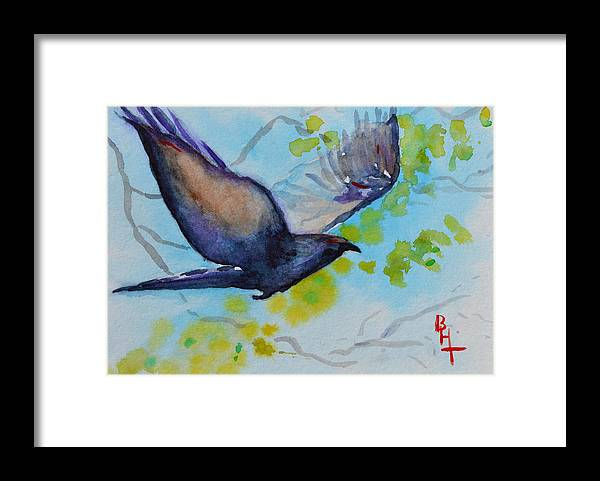 Crow Framed Print featuring the painting Spring Wings by Beverley Harper Tinsley