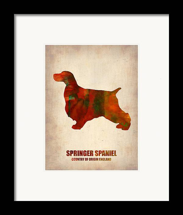 Springer Spaniel Framed Print featuring the painting Springer Spaniel Poster by Naxart Studio
