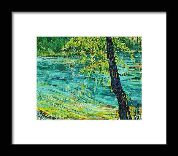 Water Framed Print featuring the painting Tree At Ichetucknee by Linda J Bean