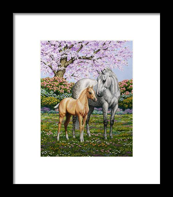 Horse Framed Print featuring the painting Spring's Gift - Mare And Foal by Crista Forest