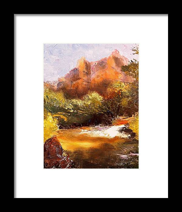 Landscape Framed Print featuring the painting Springs In The Desert by Gail Kirtz