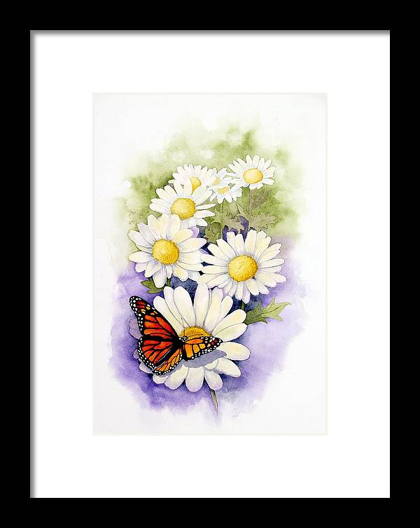 Watercolor Floral Framed Print featuring the painting Springtime Daisies by Brett Winn