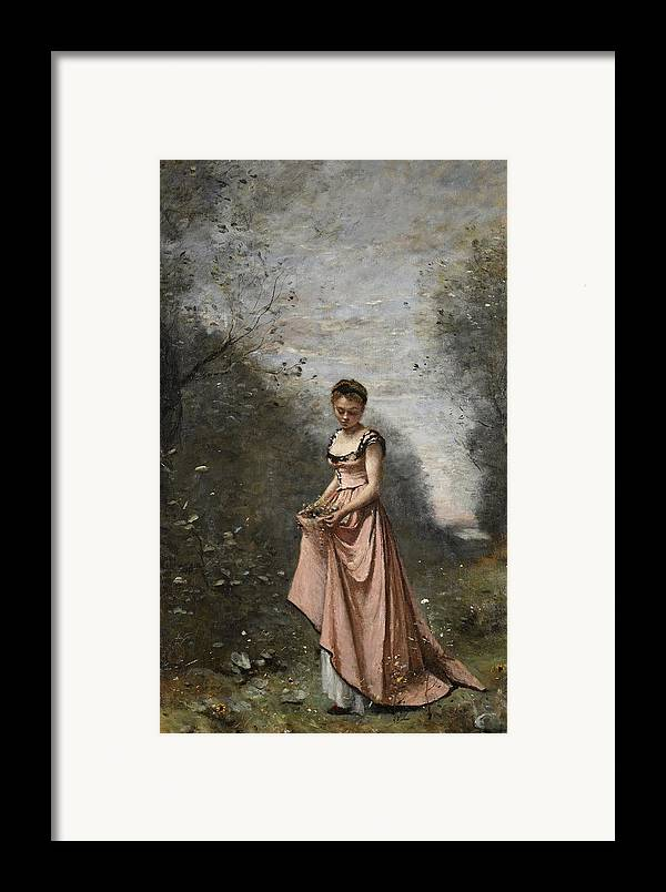 Female; Young Woman; Girl; Walking; Rural; Countryside; Woods; Collecting; Flowers; Dress; Serene; Tranquil; Peaceful; Youth; Youthful; Adolescent; Spring; Springtime Framed Print featuring the painting Springtime Of Life by Jean Baptiste Camille Corot