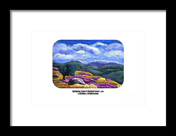 Relief Framed Print featuring the painting Springtime Santa Fe by ArSpirare by Antonius